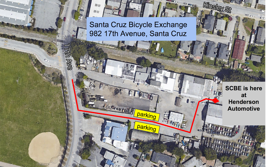 annotated map showing directions to Santa Cruz Bicycle Exchange workshop